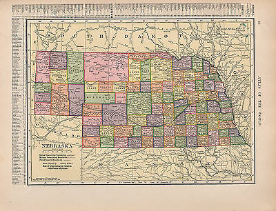 1909 Mapa ~ Nebraska Estado Indian Reservation Boundaries Militar Bosque Reserva
