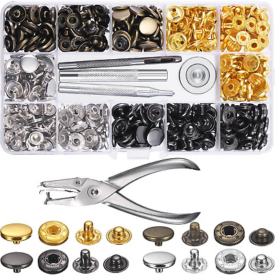 120 Set Sewing Snap Fasteners Kit Metal Snaps Button Press Studs with Punch and