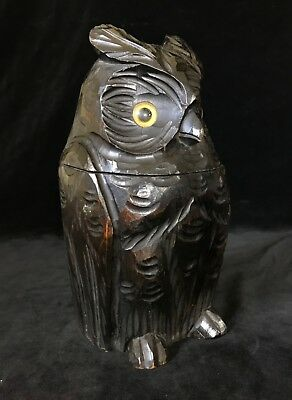 Antique Carved Figural OWL with Paperweight Eyes TOBACCO JAR HUMIDOR- Mid 20thC