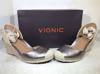 6b1d4ae0ec05 Vionic Women s Size 8.5 Aruba Maris Pewter Leather Casual Wedge Sandals  ZX-688