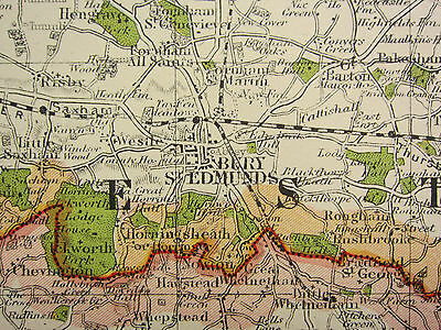 1920 Contea Map Suffolk ~ Ipswich Bury st Edmunds Sudbury Lowestoft Railways