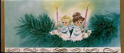Baby Angels Resting Upon Green Glitter Pine Branch Pink Candles  Vtg XMAS Card