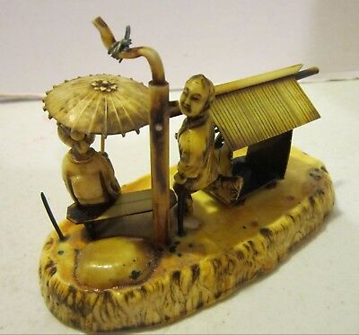 Vintage Asian Houseboat with man & woman with parasol - tin & celluloid