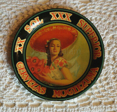 Mexican Moctezuma XX Sol Beer tin tray w/ Charra and poppie flowers 1920´s RARE