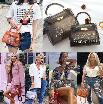 2019Women Transparent PVC Clear Alphabet Jelly Bag Tote Casual Handbag Messenger
