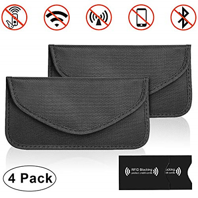 2 x Large Faraday Bag Car Key Signal Blocker Pouch, Anti Theft Fob Protector Bag