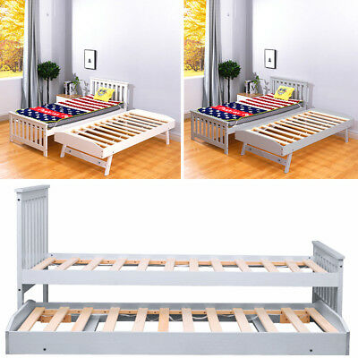 3 Feet Wood Bed White/Grey Pine Slats Support Sleepover Daybed Bedroom Beds Twin