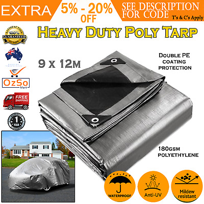 Mulit-Size Heavy Duty Poly Tarps PE Tarpaulin Camping Cover UV Resistant Proof