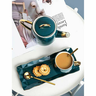 3 Piece Tea Coffee Cup Set With Spoon And Serving Tray Ceramic Tea Mug Gift Set