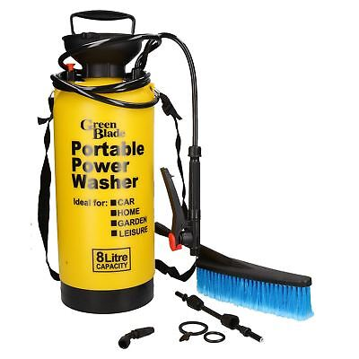 8 Litre Capacity Portable Power Washer Cleaner Sprayer Cleaning Brush Car Wash