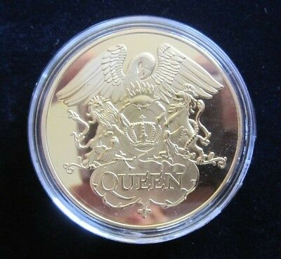 QUEEN : 24ct Gold Plated Crest Band Coin Medallion Freddie Mercury