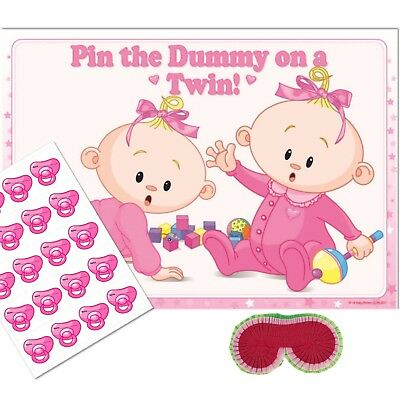 TWINS Pin the Dummy Baby Shower Game - PINK Wheres my Pacifier,Party Blindfold