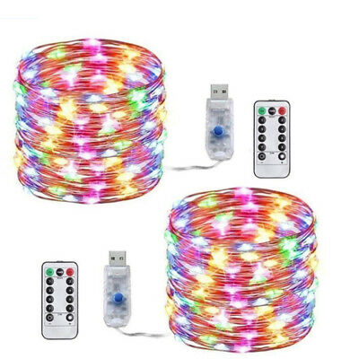 10M 100Led USB Copper Wire RGB Fairy String Light With Remote Control Xmas DSF