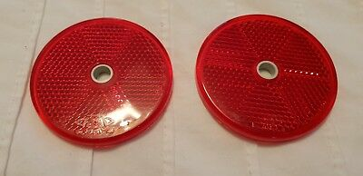 Pair Reflectors Red Trailer Horse Box Gate Post Screw On 60mm Round 2
