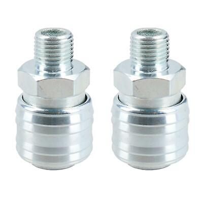 Euro Air Line Hose Connector Fitting Female Quick Release 1/4 inch BSP Male 2pk