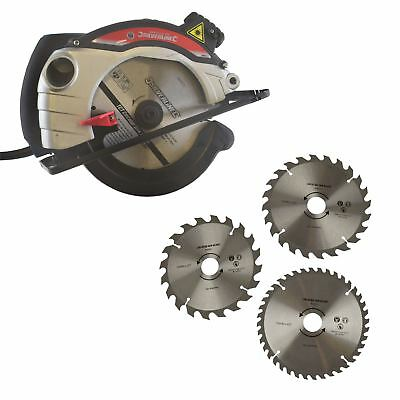 1400w Circular Saw 185mm Laser Guide Woodwork Electric & 3 Spare Blades TPI