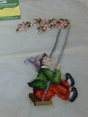 2 Bucilla Wonder Weave Boy & Girl  Pre-Worked Needlepoint Antique Canvas