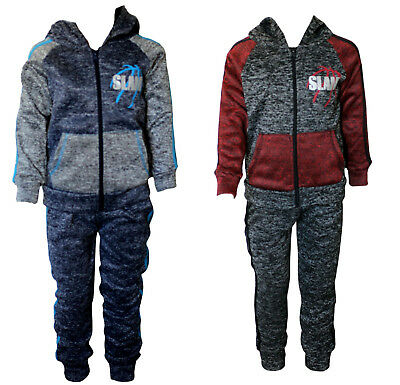 SLAM Boy's Kid's Plush Tracksuit Set, Full Sleeves Hooded Top and Cuffed Bottoms