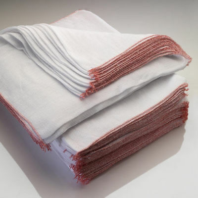 15x Large Dish Cloths, Heavy Duty Professional White Dish Cloths Red Border