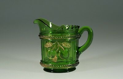 Vintage EAPG Northwood Glass Company Green Peach Creamer Signed c.1905