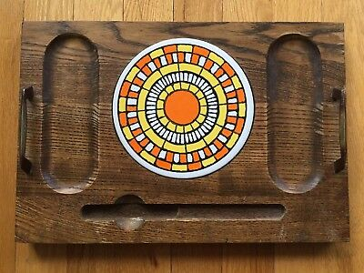 Vtg Mid Century Wood Ceramic Cheese Serving Tray Giftcraft MCM Platter Board