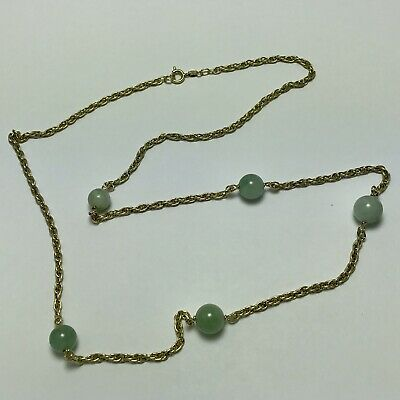 "VINTAGE 25"" NATURAL JADE JADEITE 8.4-9.4mm Bead with 14k yellow Gold Chain"