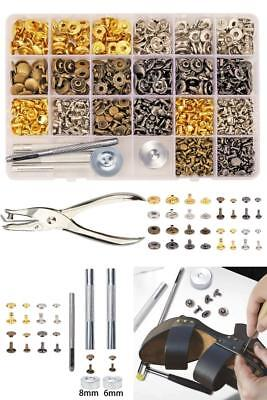 240 Set Snap Fastener Kit Rivets Double Cap Fixing Tools For Leather Coat Jacket