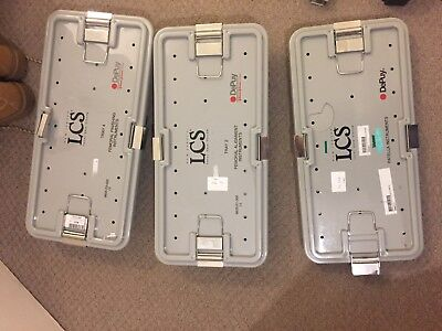 Johnson /johnson LCS Depuy New Jersey Total knee system in 3 trays.some missing