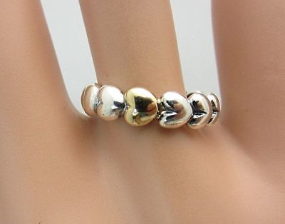 8850d78d8 Pandora Sterling Silver & 14k Yellow Gold Two-tone Hearts Ring Band Sz 60 9