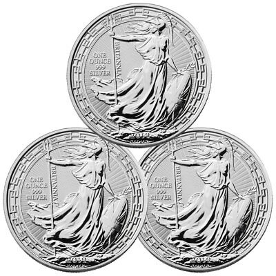 Lot of 3 2019 Britain 1 oz Silver Britannia Oriental Border BU Coins SKU56993