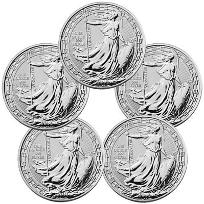 Lot of 5 2019 Britain 1 oz Silver Britannia Oriental Border BU Coins SKU56994