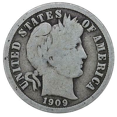 1909 Barber Dime 90% Silver Good GD