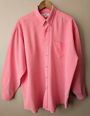 90s vintage oversized Oxford gents shirt XL coral pink business smart casual