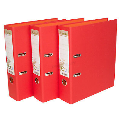3 x Red 75mm A4 Lever Arch Files Large Storage File Paper Folders Office Filing