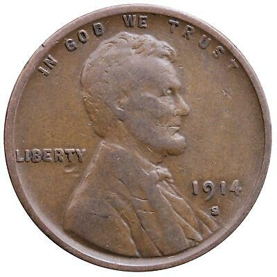 1914 S Lincoln Wheat Cent Fine Penny FN