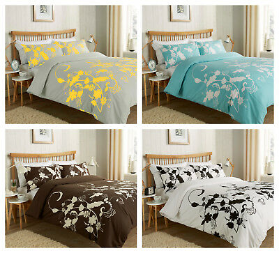 Floral Trail Print Reversible Duvet Quilt Cover Set with Pillowcase(s) All Sizes