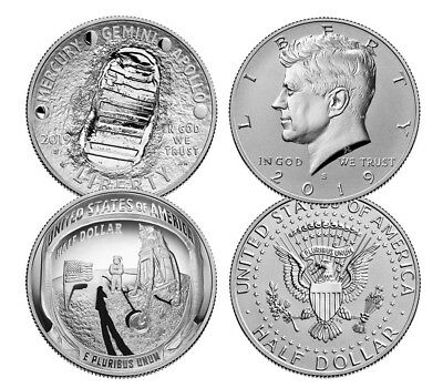 2019 S Apollo 11 50th 2-Coin Clad Half Dollar Enhanced Set PRESALE SKU56548