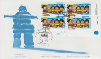 Canada #1784 46¢ Creation Of Nunavut Territory Lr Plate Block First Day Cover