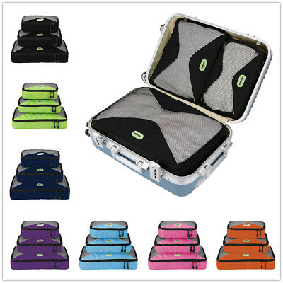 4 PCS PWaterproof Travel Clothes Storage Bags Zipper Luggage Organizer Pouch US