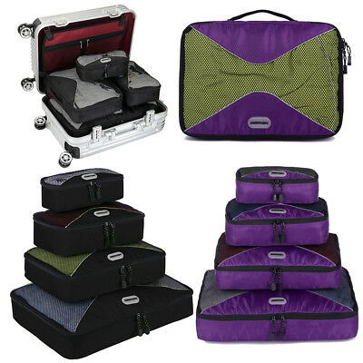 4PCS Travel Bag Organizer Set Waterproof Clothes Storage Luggage Packing Cube US