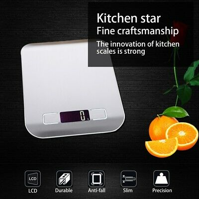 Multifunction Kitchen Food Weighing Scale 5000g/1g Silver Stainless Steel USA