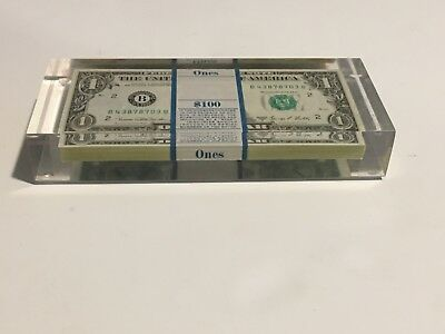 1969 A $500 $1 Federal Reserve Dollar Bill Notes Pack Lucite Paperweight