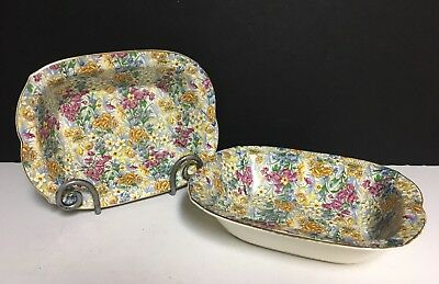 Set of 2 Erphila Art Pottery~Germany~Sussex Cheery Chintz ~Serving Bowls 9x7x2