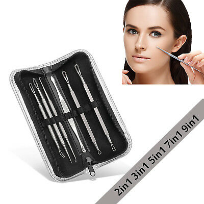 9in1 Blackhead Acne Comedone Pimple Blemish Extractor Remover Stainless Tool Kit