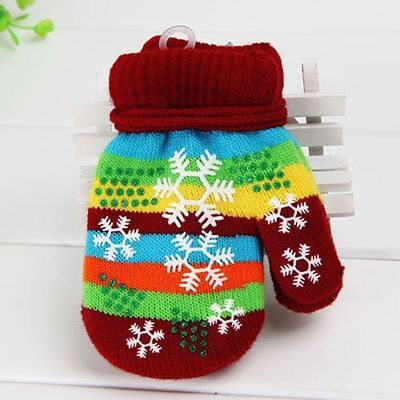 Outdoor Warm Touch Kids Knitted Gloves Full Finger Christmas Gift Mitten