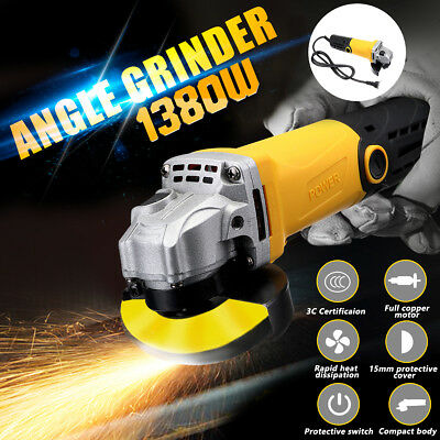 """1380W Electric Angle Grinder 100mm - 125mm 4""""-5"""" Cutting Grinding Sanding Tool"""