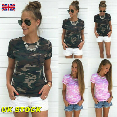 Hot Military Women T Shirt Ladies Girl Camo Camouflage Summer Cool Blouse Tops