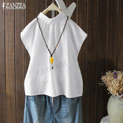 ZANZEA Women Turn Down Collar Buttons Loose Tops Tee Ladies T Shirt Blouse NEW