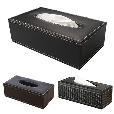 Durable Home Room Car Rectangle Faux Leather Tissue Box Paper Holder Case Cover