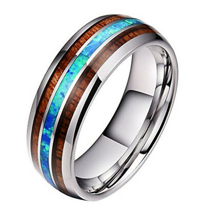 8mm Tungsten Carbide  Abalone Shell and Hawaiian Koa Wood Ring Wedding.Engagagem